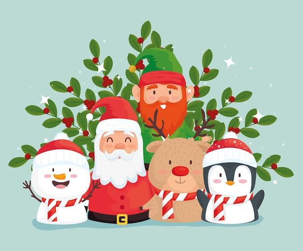 Joyeux Noël Joyeux Noël Et Caractères Groupe Conception Illustration Vecteur Premium