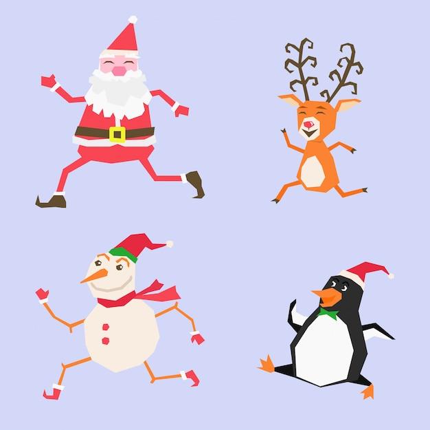 Joyeux noël joyeux noël compagnons drôles père noël bonhomme de neige renne et pingouin Vecteur Premium