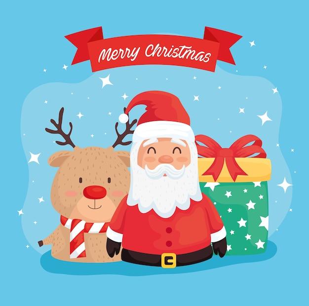 Joyeux Noël Joyeux Noël Avec Renne Et Conception D'illustration De Cadeau Vecteur Premium