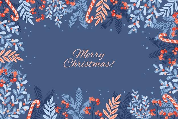 Joyeux Noël Lettrage Sur Fond D'hiver Vecteur gratuit