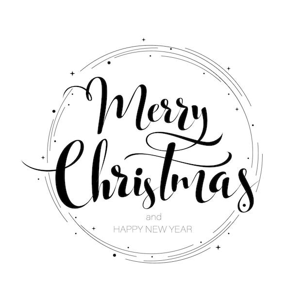 Joyeux noël main bonne année lettrage Vecteur Premium