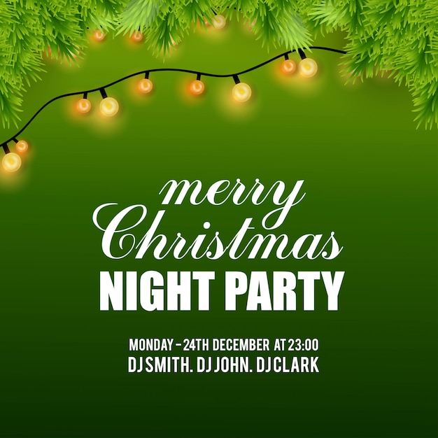Joyeux noël night party fond Vecteur gratuit