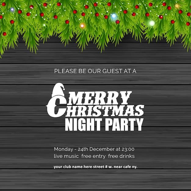 Joyeux noël night party fond Vecteur Premium