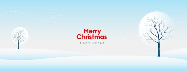 Joyeux Noël Et Nouvel An Bannière Avec Beau Paysage Enneigé D'hiver Vecteur gratuit