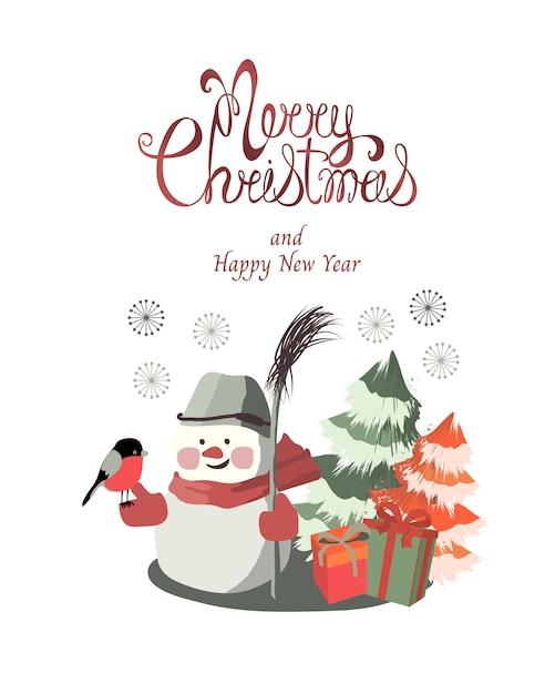Joyeux noël et nouvel an carte de voeux. un mignon petit bonhomme de neige avec un bouvreuil et un balai Vecteur Premium