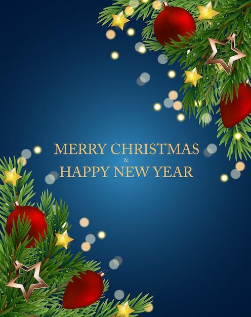 Joyeux noël et nouvel an. Vecteur Premium