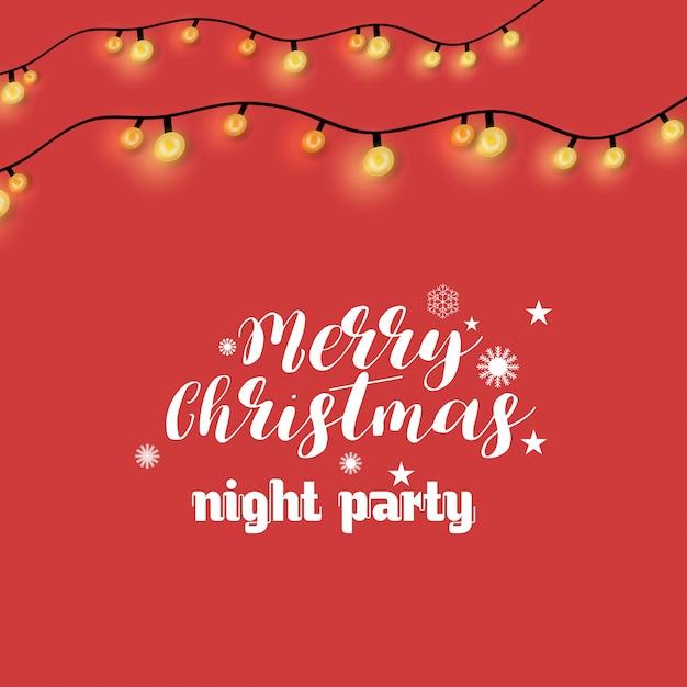 Joyeux noël nuit fête éclairage fond Vecteur gratuit