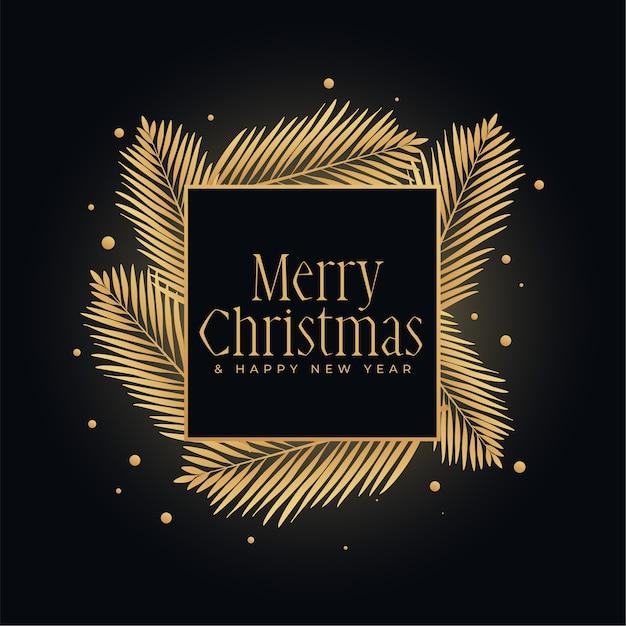 Joyeux Noël Or Et Fond De Festival Noir Vecteur gratuit