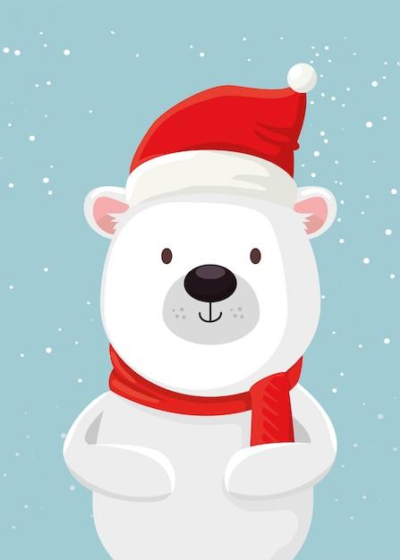 Joyeux noël ours mignon personnage Vecteur gratuit