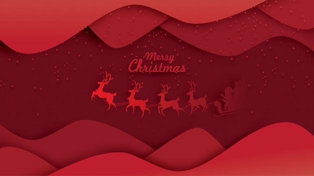 Joyeux noël père noël sur le ciel avec un traîneau de rennes Vecteur Premium