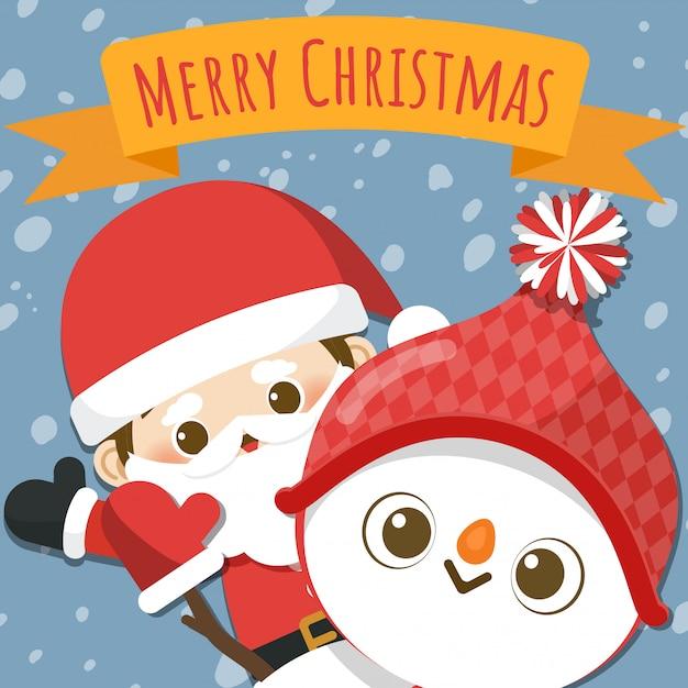 Joyeux noël avec le petit père noël et bonhomme de neige. Vecteur Premium