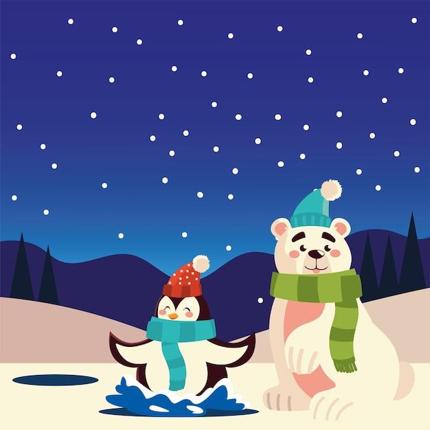 Joyeux Noël Pingouin Mignon Et Ours Polaire Dans L'illustration De La Célébration Du Lac Vecteur Premium