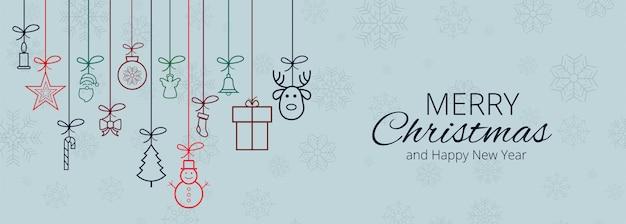 Joyeux Noël Pour La Bannière D'éléments De Noël Vecteur gratuit