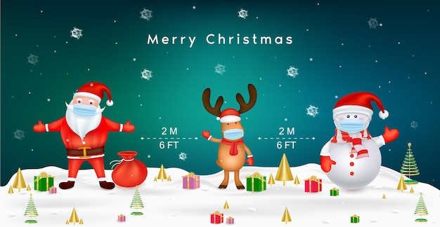 Joyeux Noël Pour Le Nouveau Concept De Mode De Vie Normal Le Père Noël Et Le Renne Du Père Noël Avec Masque Chirurgical Protègent Le Concept De Distance Sociale Du Coronavirus En Raison De Covid Vecteur Premium