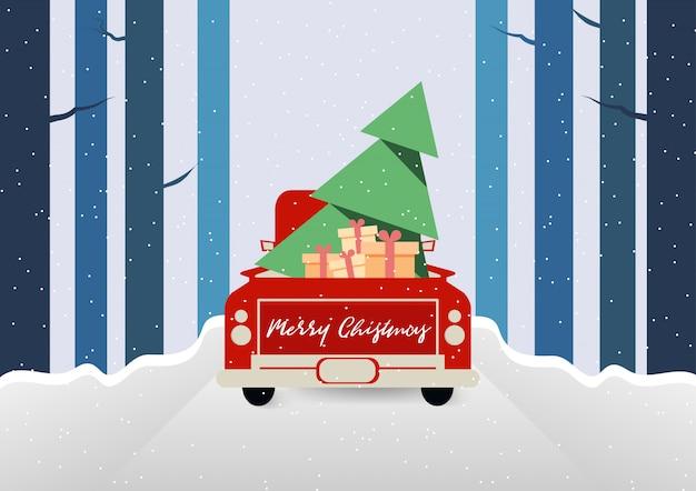 Joyeux Noël Et La Saison D'hiver Avec Camion Rouge Transporter Vecteur De Boîte Arbre De Cadeau Et Cadeau Vecteur Premium