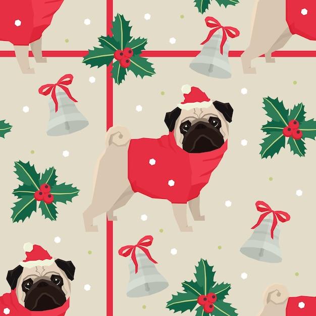 Joyeux Noël Seamless Avec Les Carlins Vecteur gratuit