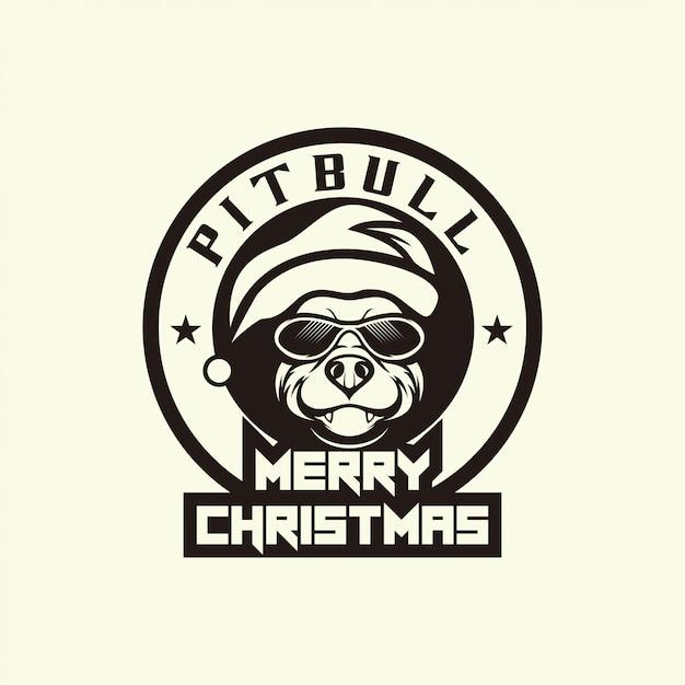 Joyeux Noël Avec Tête De Chien Pitbull Vecteur Premium