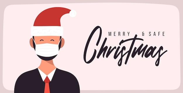 Joyeux Noël En Toute Sécurité. Vecteur Premium