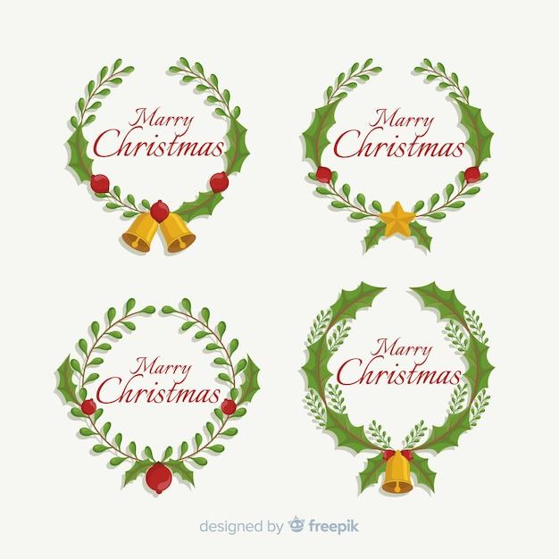 Joyeux Noël Voeux Texte Cercle Couronne Couronne Vecteur gratuit