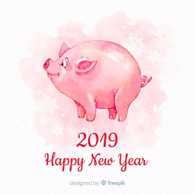 Joyeux nouvel an chinois 2019 Vecteur gratuit