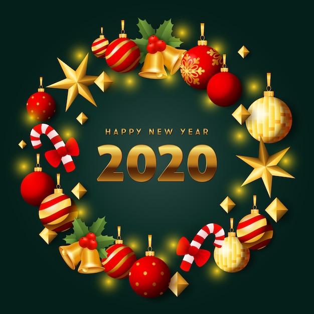 Joyeux nouvel an couronne de noël rouge et or sur sol vert Vecteur gratuit