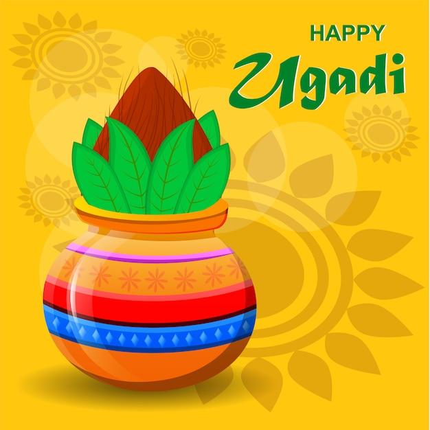 Joyeux Nouvel An Hindou Ugadi Et Gudi Padwa Vecteur Premium