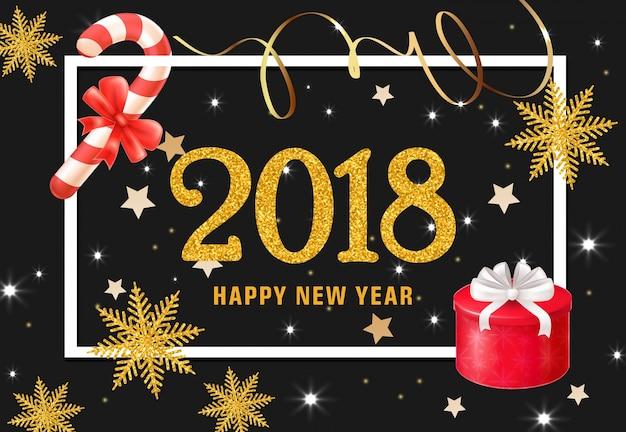 Joyeux Nouvel An Lettrage Avec Présent Et Bonbons Vecteur gratuit