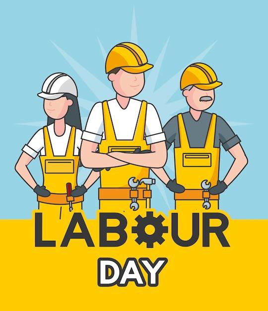Joyeux ouvriers dans une illustration bleue Vecteur gratuit