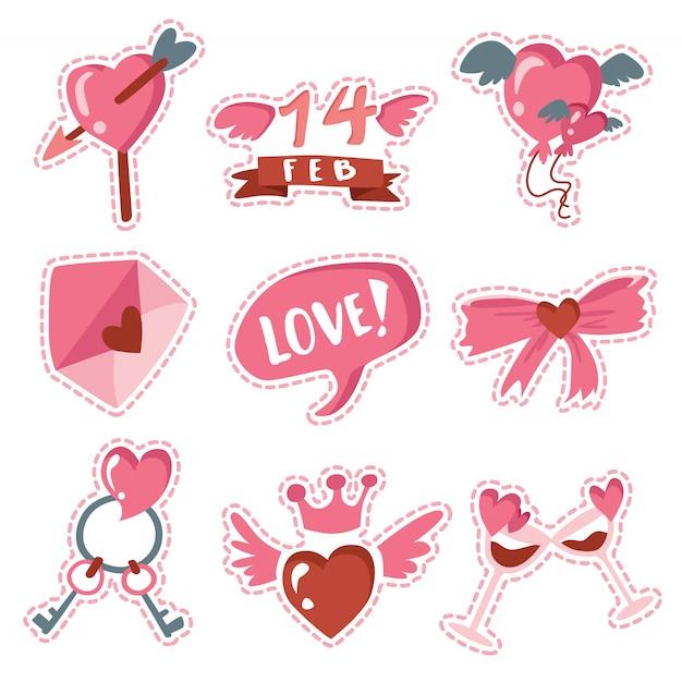 Joyeux Paquet D'autocollants D'amour Pour La Saint-valentin Vecteur Premium