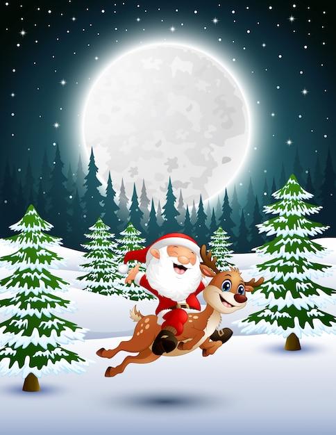 Joyeux père noël sur un renne dans un jardin enneigé Vecteur Premium