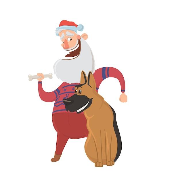 Joyeux Père Noël En Riant Et Un Chien. Caractères Pour Les Cartes De Nouvel An Pour L'année Du Chien Selon Le Calendrier Oriental. , Isolé Sur Fond Blanc. Vecteur Premium