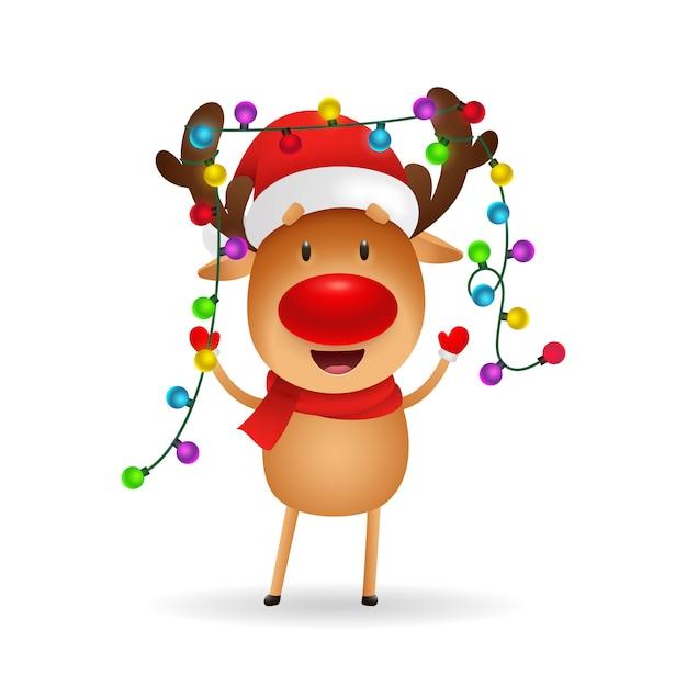 Joyeux rennes célébrant noël Vecteur gratuit