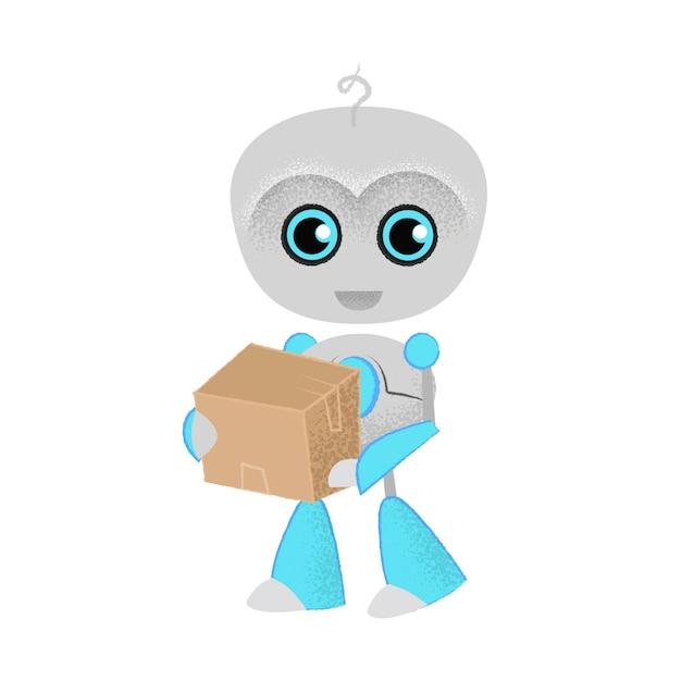 Joyeux robot tenant colis. livraison, courrier, expédition. Vecteur gratuit
