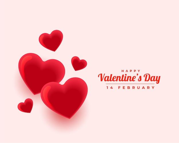 Joyeux Saint Valentin Beau Amour Coeurs Salutation Vecteur gratuit