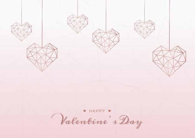 Joyeux saint valentin fond rose Vecteur Premium