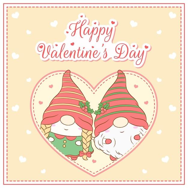 Joyeux Saint Valentin Mignon Gnomes Dessin Carte Postale Grand Coeur Vecteur Premium