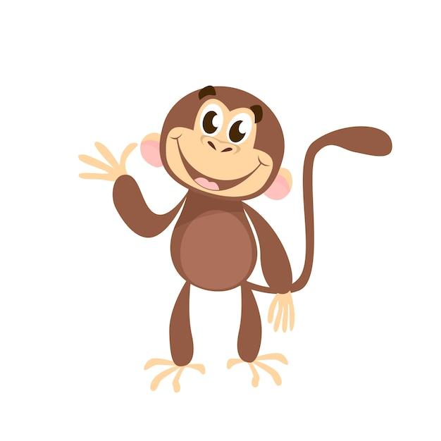 Joyeux singe agitant la main Vecteur gratuit