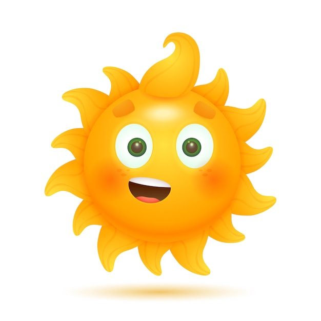 Joyeux Soleil Drôle De Bande Dessinée Vecteur gratuit