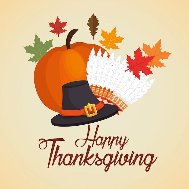 Joyeux thanksgiving carte chapeau chapeau citrouille feuilles d'automne Vecteur gratuit