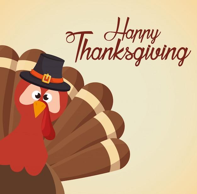 Joyeux thanksgiving day card funny turkey Vecteur gratuit