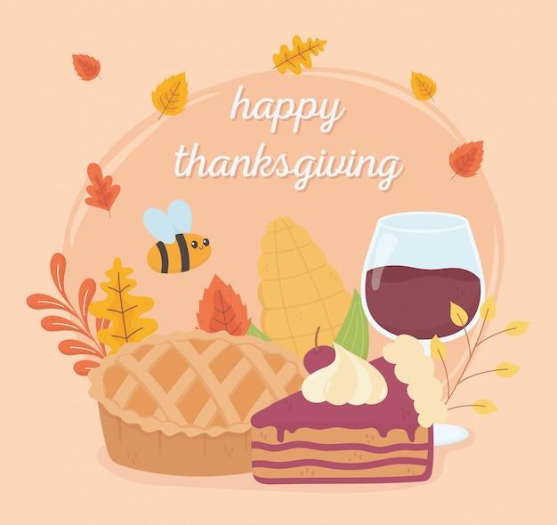 Joyeux thanksgiving tarte verre gâteau verre fête feuillage Vecteur Premium