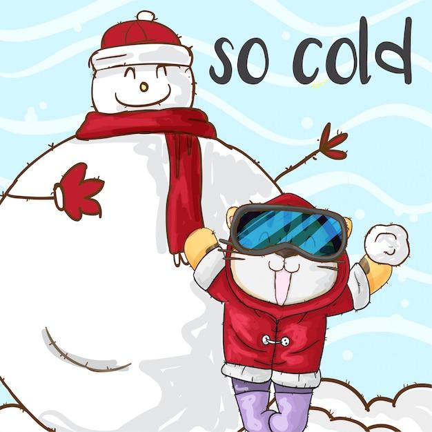 Joyeux tigre et bonhomme de neige en fond de neige Vecteur Premium