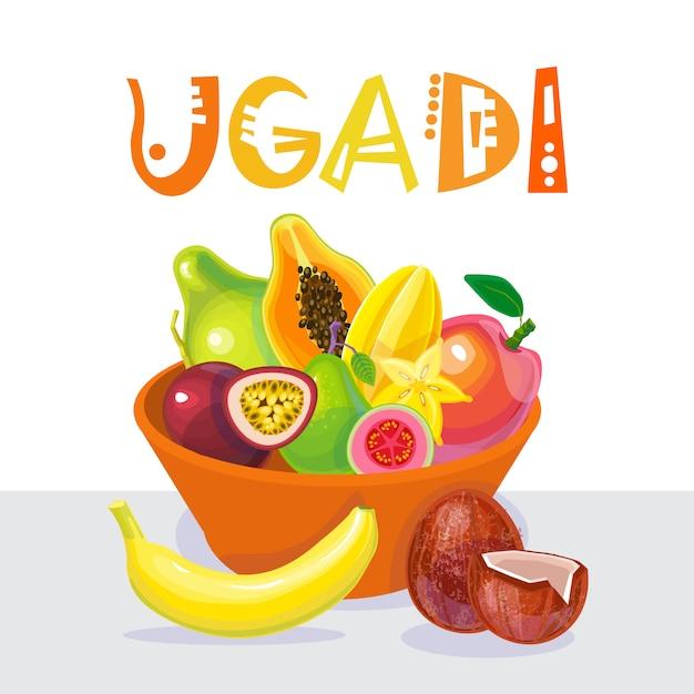 Joyeux Ugadi Et Gudi Padwa, Vacances De Carte De Voeux Pour Le Nouvel An Hindou Vecteur Premium