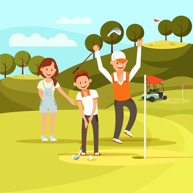 Joyful boy visant à frapper une balle de golf hit it in hole. Vecteur Premium