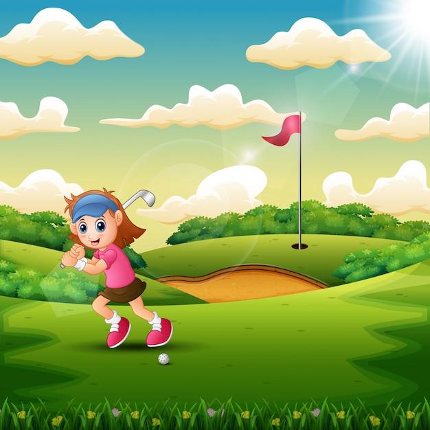 Joyful une fille jouant au golf dans la cour Vecteur Premium