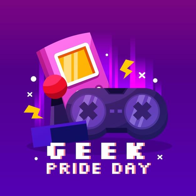 Joystick Et Contrôleur Geek Pride Day Vecteur Premium