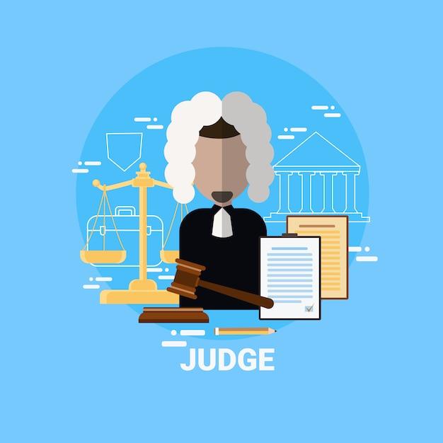 Juge homme icône justice et droit avocat avatar Vecteur Premium