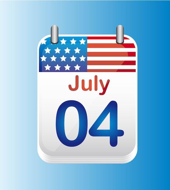 Juillet 4 calendrier illustration vectorielle de jour de l'indépendance Vecteur Premium