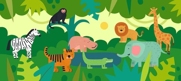Jungle Avec Des Animaux. Zèbre, Singe Et Hippopotame Vecteur Premium