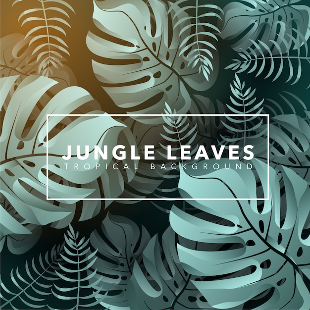 Jungle leaves background Vecteur Premium